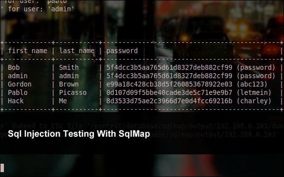 Sql Injection Testing With SqlMap